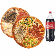 "2 Large 14"" Pizzas with any 3 toppings each & 2 Ltr Pop"