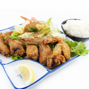 207. Chicken Karaage+Rice+Miso+Salad