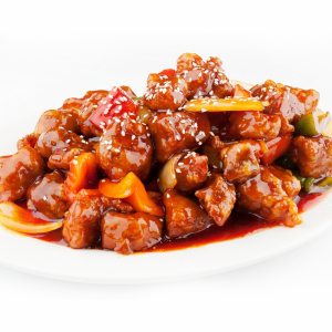 56. Sweet & Sour Pork with pineapple