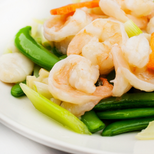 Sauteed Fried Squid, Prawns, and Scallops