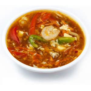 17. Hot & Sour Soup with Ham, Shrimp, Tofu & Veggies