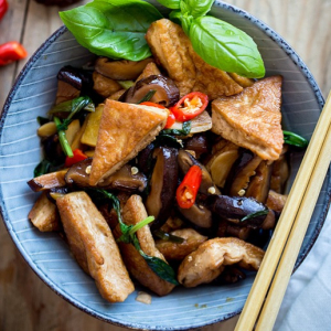 Chinese Mushrooms with Deep-Fried Tofu