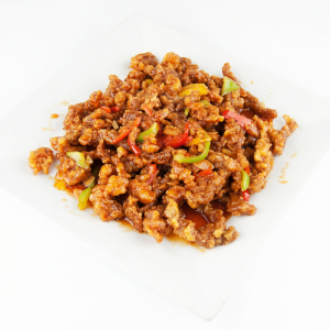 Stir-Fried Shredded Beef with Green Chili (Spicy)黑椒牛肉粒