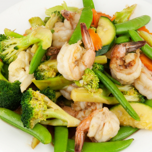 111. Prawns with Mixed Vegetables on Rice