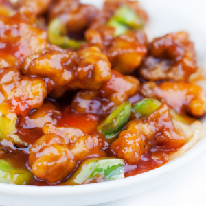 36. Boneless Chicken with Pineapple, Green Pepper & Onion in Sweet & Sour Sauce