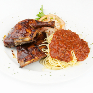 2 BBQ Chicken & Ribs with 1/2 Homestyle Spaghetti