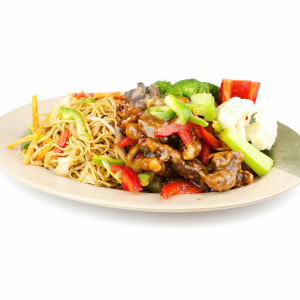 131. Ginger Beef, Mixed Vegetable on Chow Mein