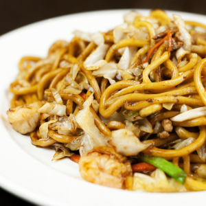 Shanghai Thick Noodles with Chicken and Shrimp