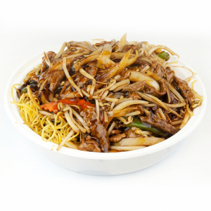 Shredded Pork Toro Chow Mein with Black Pepper Sauce on Sizzling Plate
