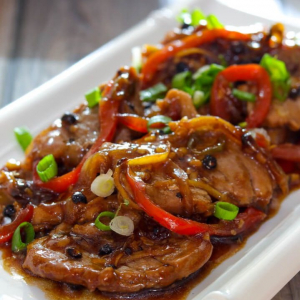 Pork Intestines with Black Bean Sauce