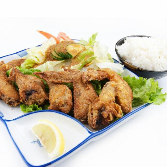 207. Chicken Karaage+Rice+Miso+Salad