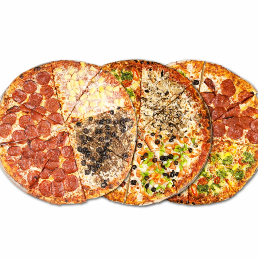 3 Large Any Specialty Pizzas