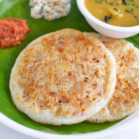 Onion, Coriander Uttapam