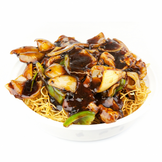 127. Sliced Beef or Chicken in Black Bean Sauce on Chow Mein