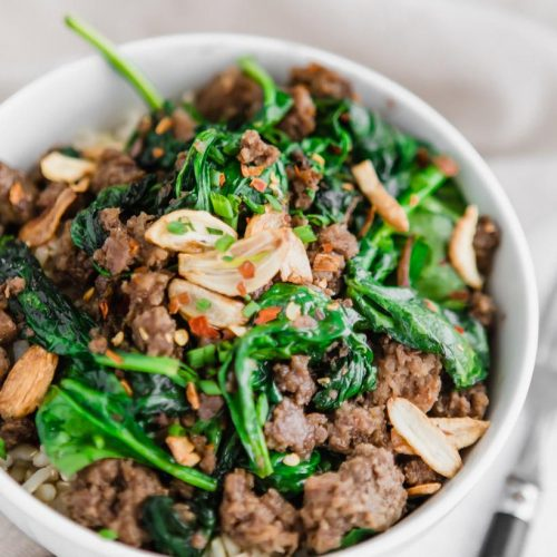 48. Beef with Spinach in Hot Garlic Sauce