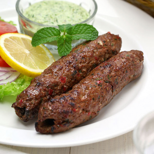 Beef Seekh Kebab on Naan