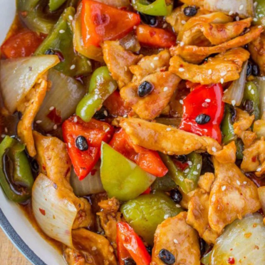 Sliced Chicken In Black Bean Sauce