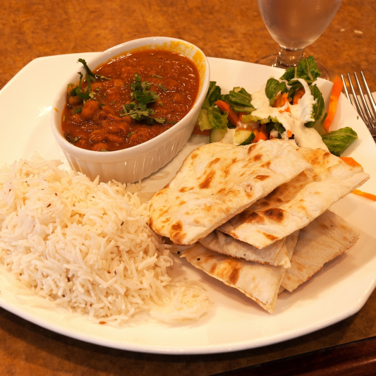 Regular Channa Masala and Two Butter Naan Breads