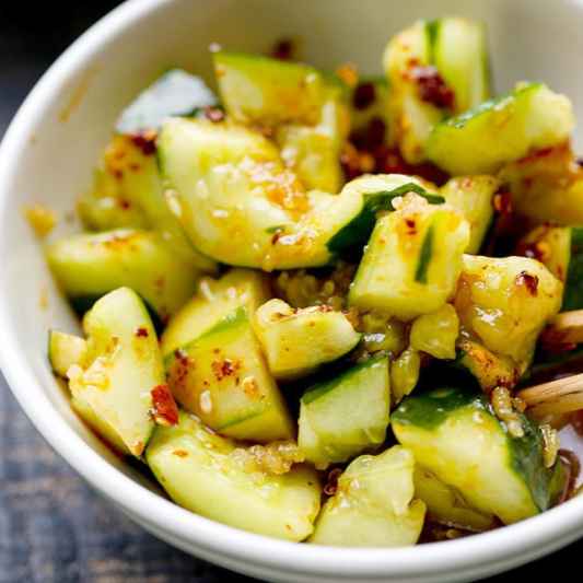 38. Cold Cucumber with Chili Sauce