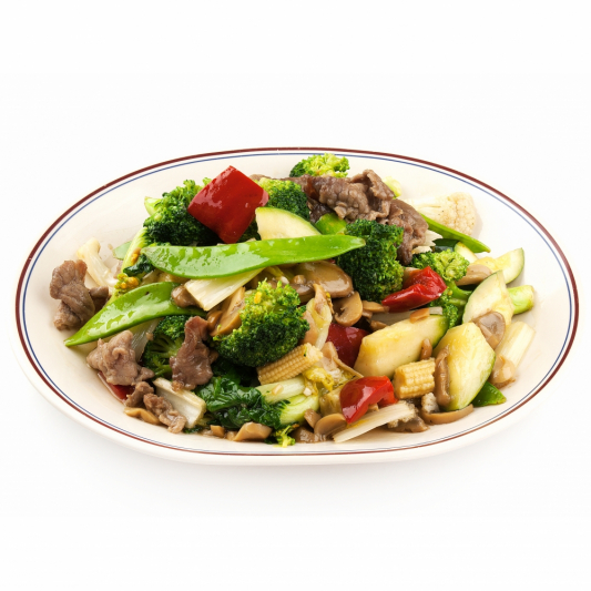 118. Beef with Mixed Vegetables on Rice