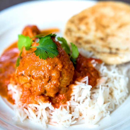 Kids' Butter Chicken with a Bowl of Rice