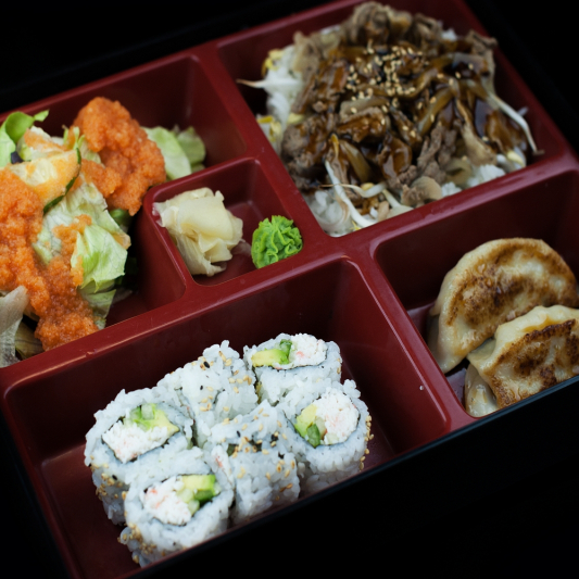 Beef Teriyaki and Sushi