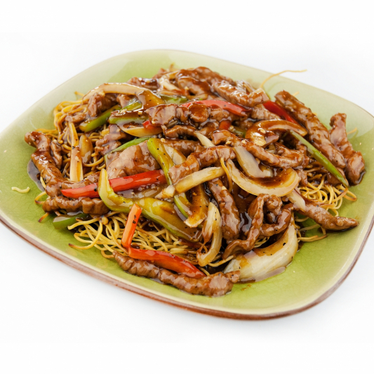 71. Shredded Beef Chow Mein with Black Pepper Sauce