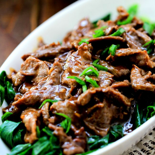 Sliced Beef with Chinese Broccoli (Gai Lan)