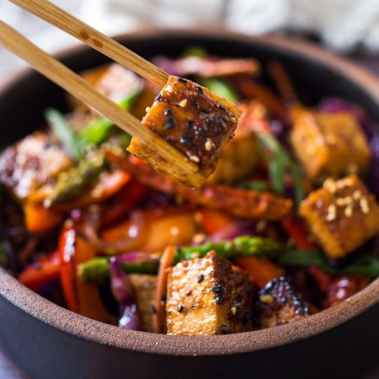 Tofu and Vegetables in Black Bean Sauce