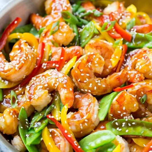47. Stir Fried Shrimp with Mixed Vegetable 蝦球炒什菜