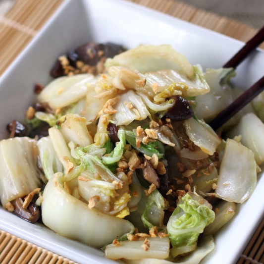 Stir-Fried Black Mushrooms, and Chinese Cabbage