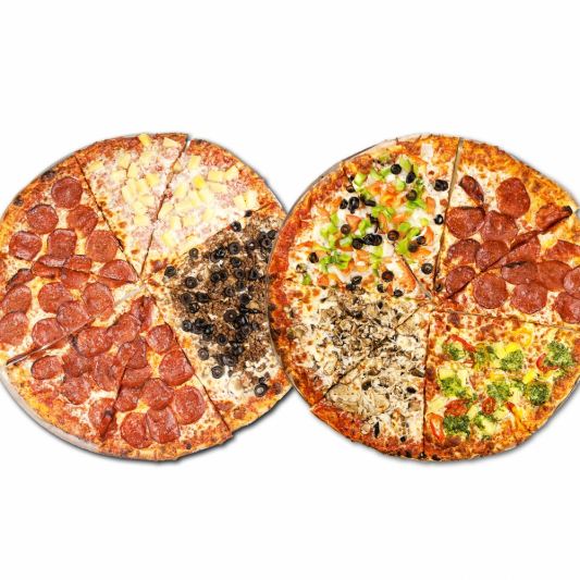 2 Pizzas with 2 Toppings