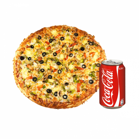 Pizza with a Can Drink