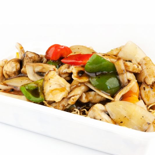 85. Stir-Fried Mushroom and Chicken in Black Pepper Sauce