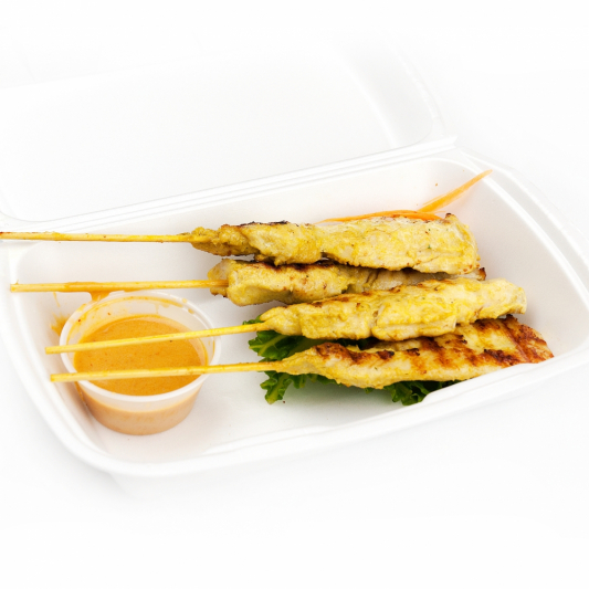 Satay Skewers with Peanut Sauce (4 pcs)