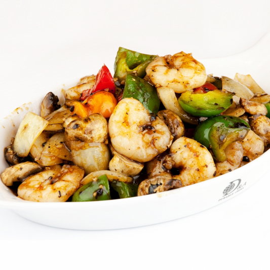 73. Prawns with Green pepper in Black Bean Sauce