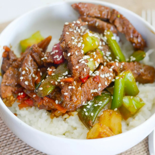 T23. BBQ Beef Short Ribs (8 pcs) with Steamed Rice & Mixed Vegetables