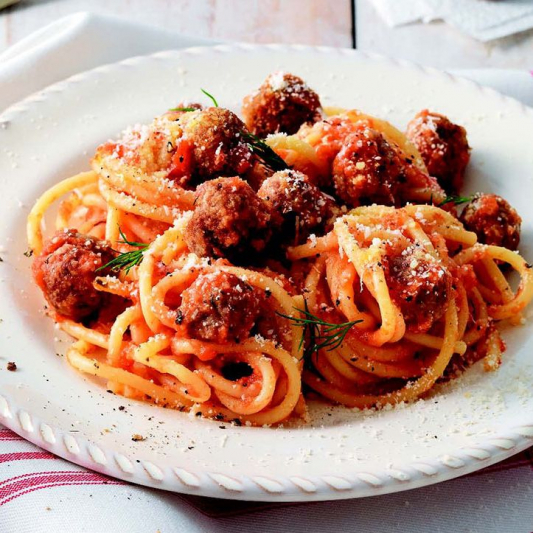 Spaghetti with Meatballs & Cheese