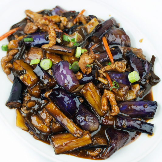 97. Egg Plant & Shredded Pork in Hot Garlic Sauce
