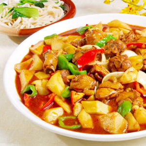 D01. Xinjiang Style Chicken with Hand-Made Noodle 特色大盘鸡(配面)