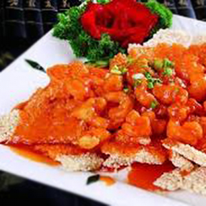 F06. Stir-Fried Shrimp with Crispy Rice 锅巴虾仁