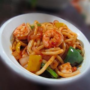H28. Fried Noodle with Shrimp 虾炒面