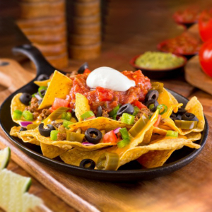Nachos with Black Olives, Green Peppers, Tomatoes and Ground Beef