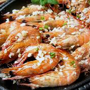 F03. Shrimp with Garlic on Hot Sizzling Plate 铁板蒜茸虾
