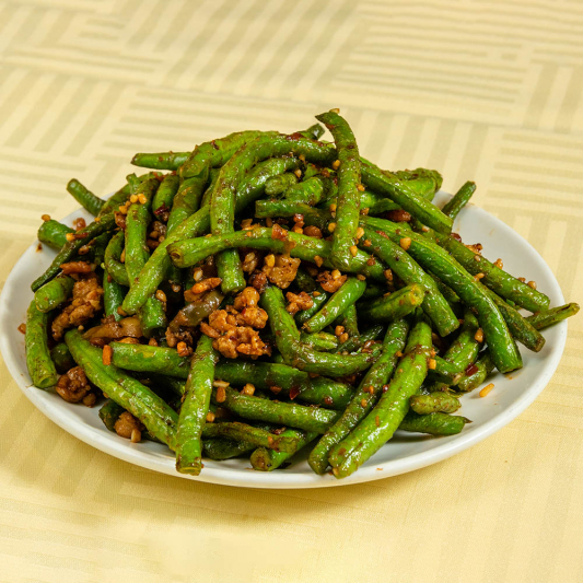 93. Green Beans, Dried Shrimp & Minced Pork with Chili Sause