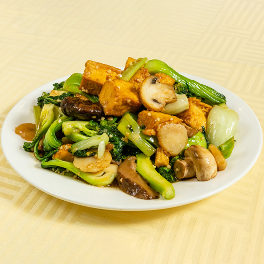 83. Chinese Mushroom, Tofu & Mixed Vegetable in Oyster Sauce