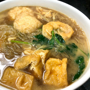 61. Fried Wheat Gluten and Tofu Skin Rolls with Minced Pork  and Vermicelli in Soup