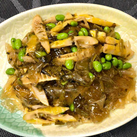 346. Sauteed Bean Starch Sheets w/ Preserved Pork & Winter Bamboo Shoots 雪菜冬筍炒粉皮