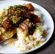 1. Braised Spare Ribs with Green Beans on Rice 排骨豆角饭