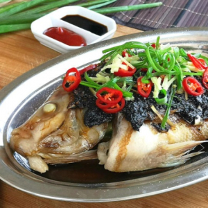 A01. Steamed Lin Cod Head with Hunan Chili